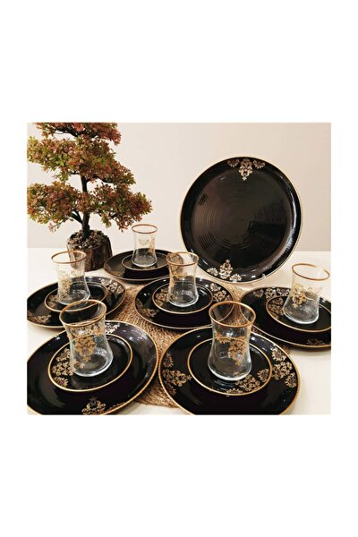 19 Parça Gold Siyah Tabaklı 6 Kişilik Çay Pasta Takımı