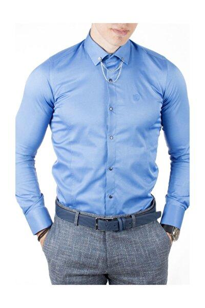 Erkek Saks Mavi pamuk saten Klasik Gömlek