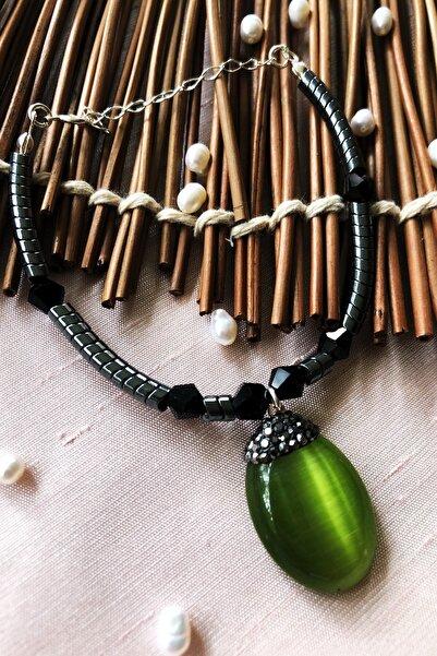 Dr Stone Luxury Collection Kedigözü Ve Hematit Taşı 925 Ayar Gümüş Kadın El Yapımı Bileklik Lxdr13