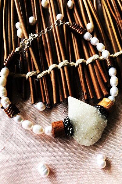 Dr Stone Luxury Collection Kuvars, Inci Ve Hematit Taşı 925 Ayar Gümüş Kadın  Bileklik Lxdr32