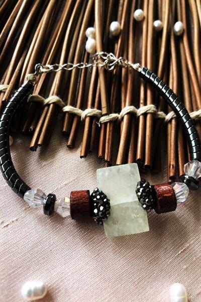 Dr Stone Luxury Collection Aventurin, Kristal Ve Hematit Taşı 925 Ayar Gümüş Kadın Bileklik Lxdr68