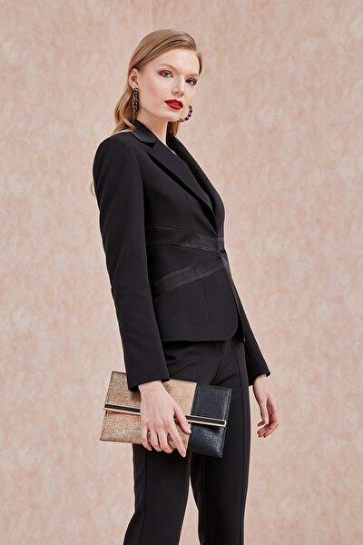 Kadın Ceket-Klasik Yaka, Üst Yaka Ve Bel Kesitleri Saten Kombinli, Ön Agraflı Siyah 20Yckt100