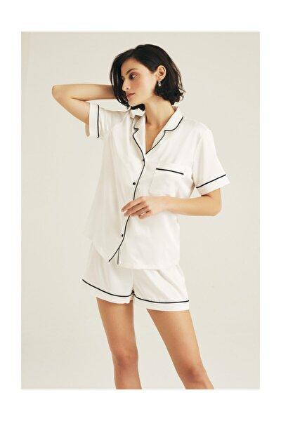 Yumuşak Saten Biye Detaylı Şort Pijama Takımı