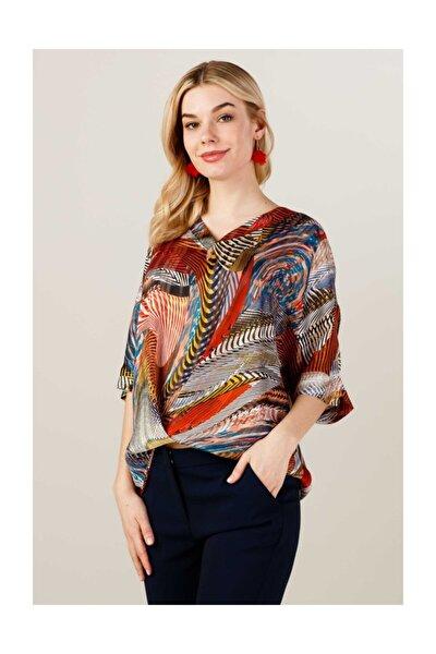 Kadın Desenli Şifon Bluz