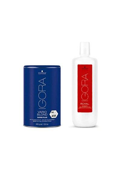 Igora Vario Blond Super Plus Beyaz Acıcı 450 gr + Igora Krem Oksidan %12 40v 1000ml 4045787401318-40