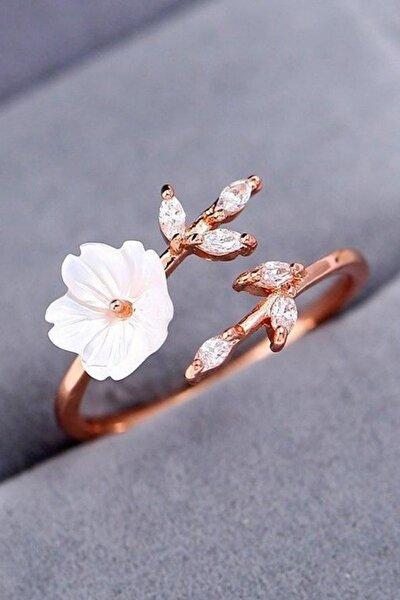 Manolya Çiçeği Ayarlanabilir Beyaz 925 Ayar Gümüş Kadın Yüzük