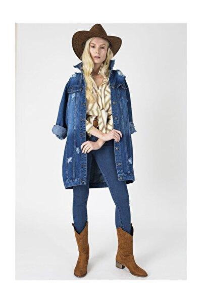 Kadın Mavi Boyfriend Oversize Uzun Kollu Yırtıklı Kot Ceket-stck300