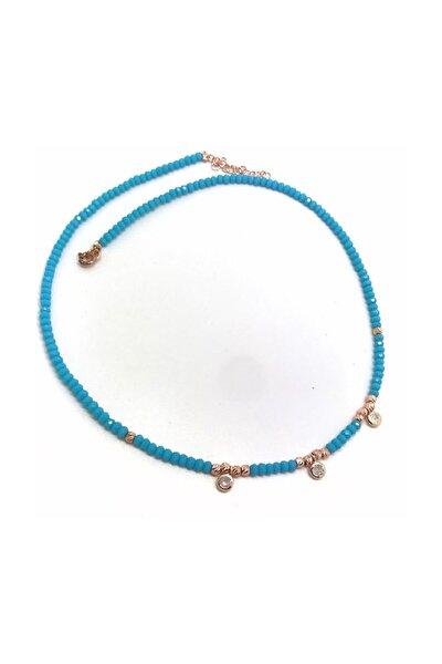 Kadın Gümüş Toplu Mavi Kristal Taşlı Kolye Gl869r3