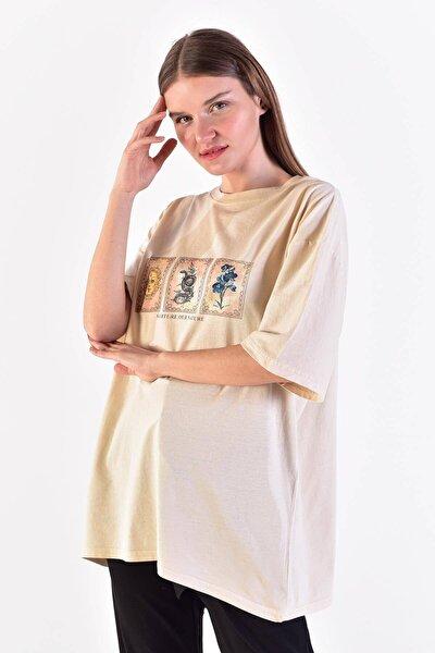 Kadın Taş Önü Baskılı T-Shirt ADX-0000021582