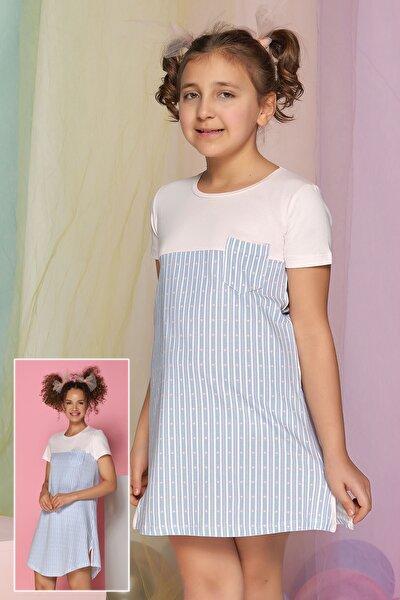 Kız Çocuk Mavi Çizgili Tunik