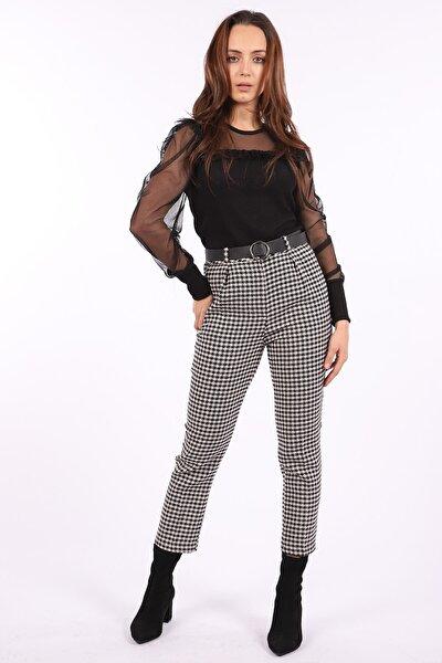Kadın Siyah Kazayağı Desenli Kemerli Pantolon 949-19K04001.83