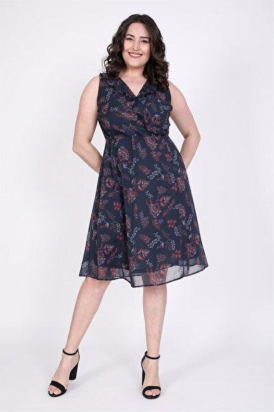 Çapraz Biye Detaylı Şifon Elbise