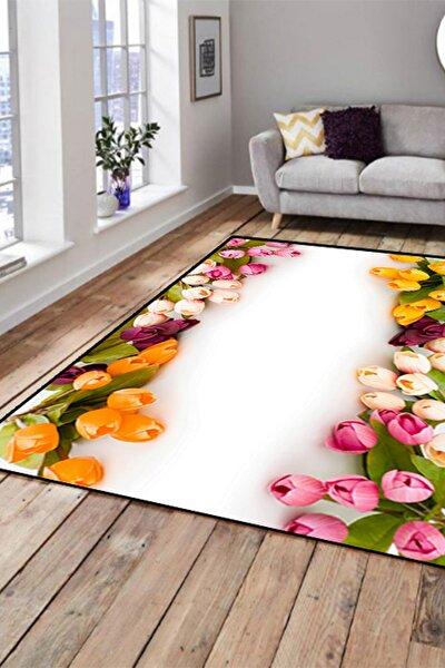 150X215 Else Hali Renkli Laleler Dekoratif Modern 3D Salon Halilari
