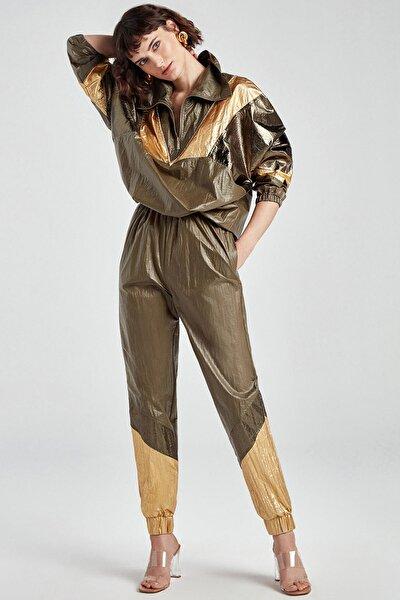 Paçası Elastik Manşetli Metalik Pantolon