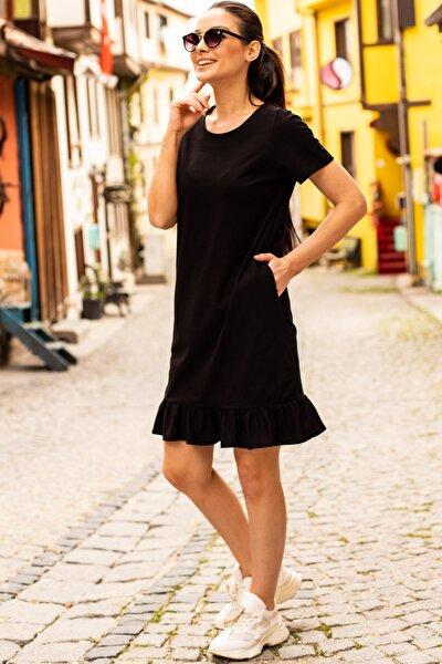 Kadın Siyah Kısa Kollu Altı Fırfırlı Elbise ARM-20Y001032
