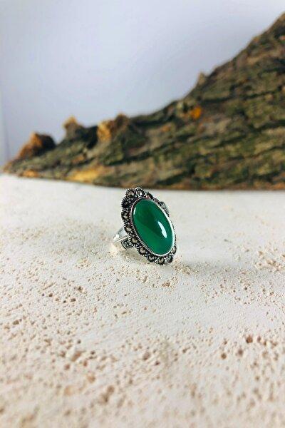Yeşil Akik Ve Markazit Taşlı Gümüş Kadın Yüzük