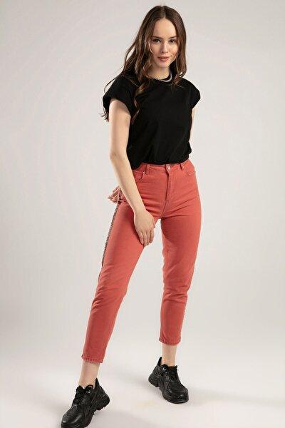 Kadın Leopar Şerit Detaylı Kot Pantolon 10144