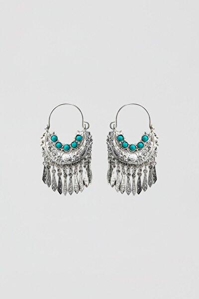 Kadın Gümüş Turkuaz Taşlı Gümüş Rengi Küpe 05992319