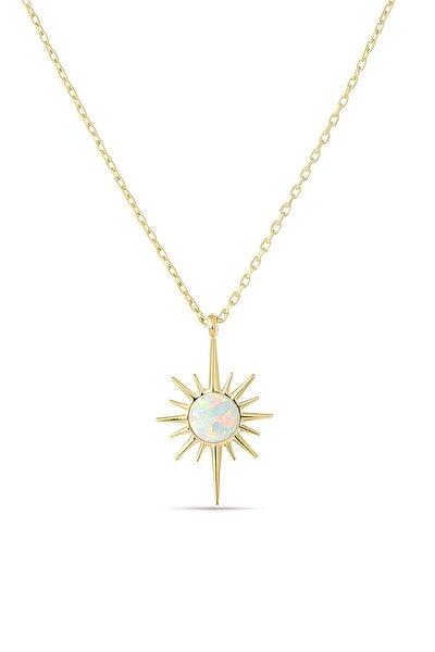 Beyaz Opal Taşı Gümüş Kolye