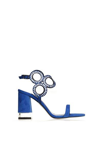 Mavi Süet Kalın Topuk Kadın Sandalet