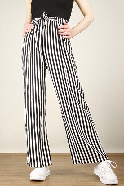 Kadın Beli Lastikli Kuşaklı Salaş Çizgili Serin Pantolon 6470zgm20