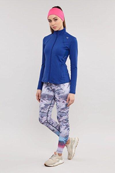 Mavi Likralı Kadın Eşofman Üstü ES-3522