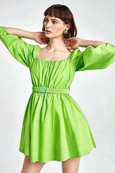 Kadın Yeşil Balon Kol Mini Elbise N20Y-2219-0030