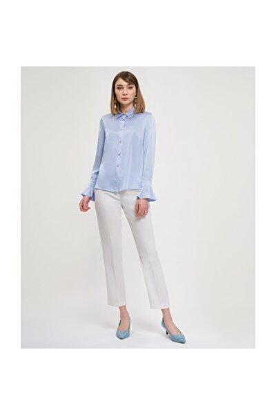Manşetli Açık Mavi Bluz V23070256