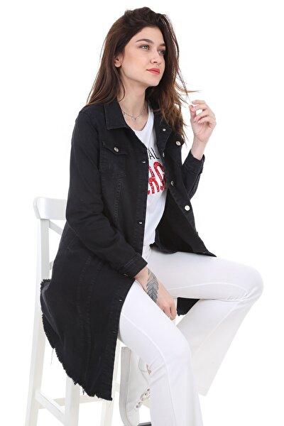 Kadın Siyah Eteği Püsküllü Uzun Kot Ceket 0618