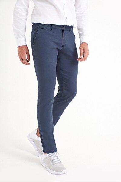 Erkek İndigo Yandan Cepli Armürlü Slim Fit Pantolon A91Y3029