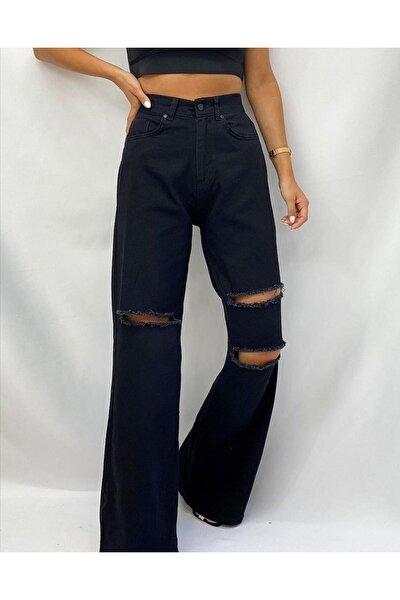Kadın Siyah Yırtık Detaylı Bol Paça Jean
