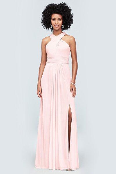 Kadın Toz Pembe Çapraz Halter Yaka Yırtmaçlı Elbise F19952