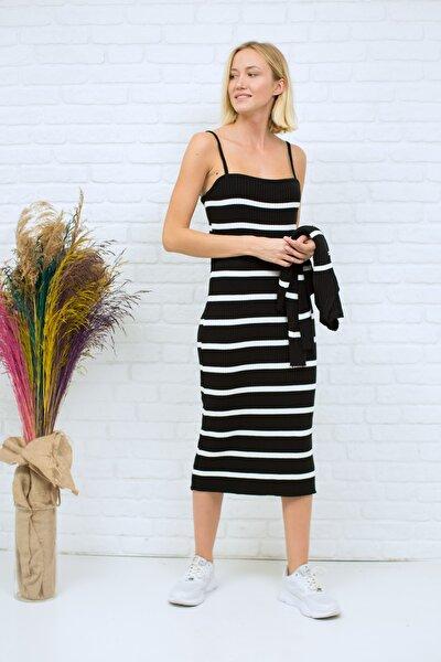 Kadın Siyah Beyaz Elbise Hırka 2'li Takım