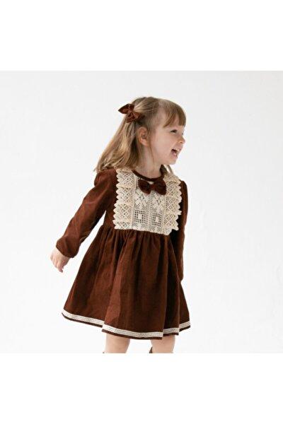 Kız Çocuk Kahverengi Kadife Güpürlü Elbise
