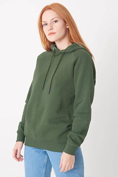 Kadın Haki Kapüşonlu Sweatshirt
