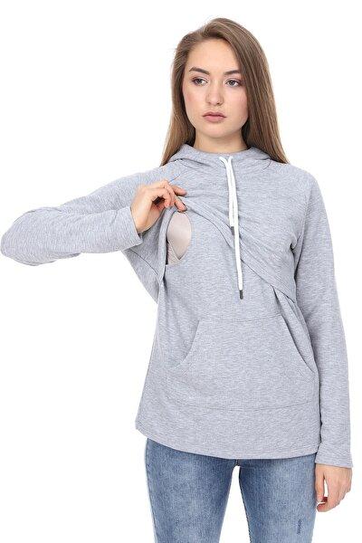 Kadın Gri Parçalı Kapüşonlu ve Cepli Emzirme Sweatshirt
