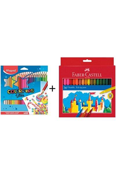 Maped Color Peps 48 Renk Kuru Boya + Unicolor 36 Renk Keçeli Kalem