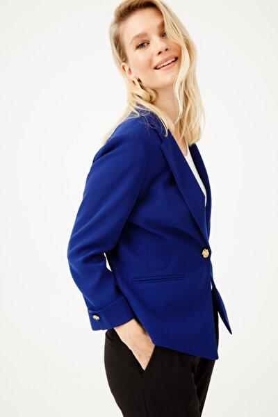 Kadın Lacivert Düz Kesim Ceket