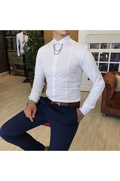 Erkek Saten Beyaz Italyan Kesim Slim Zincirli Gömlek T4091