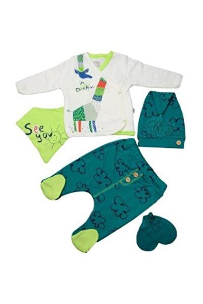 Unisex Bebek Yeşil Origami 5'li Zıbın Seti