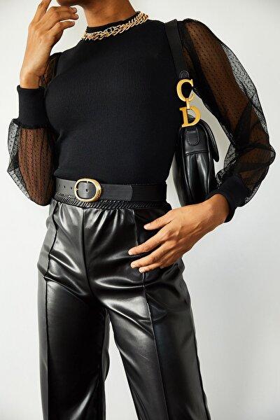 Kadın Siyah Kolları Tüllü Bluz 1KZK3-10767-02