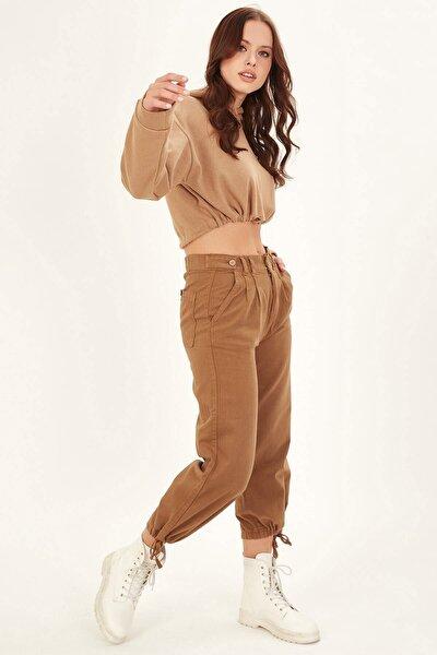 Kadın Kahverengi Beli Düğmeli Pantolon