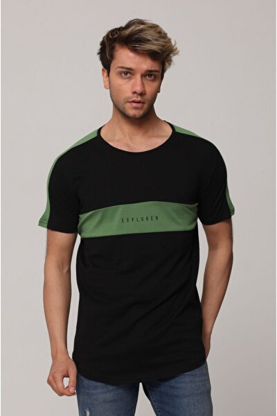 Erkek Haki Omuz Detaylı Parçalı Baskılı T-shirt
