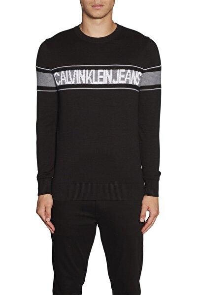 Erkek Siyah Logo Yazılı Sweatshirt