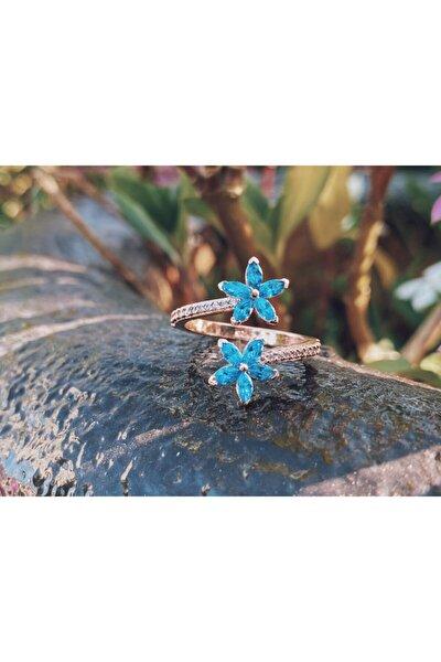 Kadın Mavi Unutma Beni Çiçeği Ayarlanabilir 925 Ayar Gümüş Yüzük