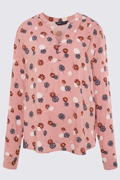 Kadın Pembe Çiçek Desenli Uzun Kollu Bluz T43003270