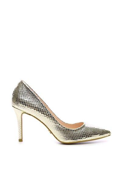 Altın Kadın Klasik Topuklu Ayakkabı