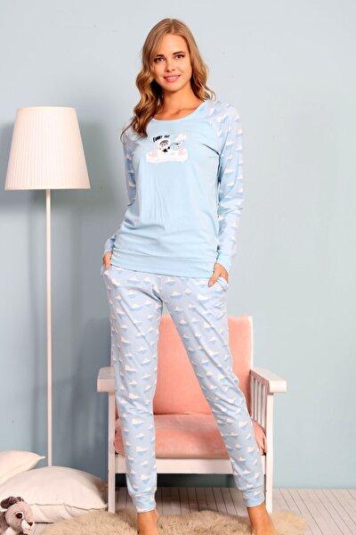 Kadın Mavi Uzun Kol Normal Beden Lycralı Pamuklu Pijama Takım