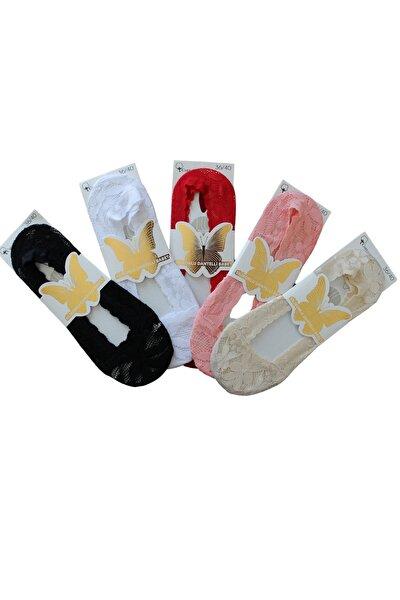 5 Li Bayan Dantel Işlemeli Silikonlu Babet Çorap