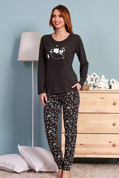 Kadın Gri Uzun Kol Pamuklu Pijama Takımı